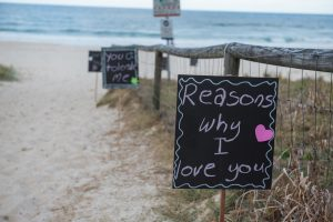 Beach proposal signs